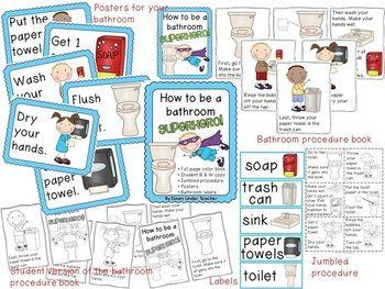 School Bathroom Rules be a bathroom superhero - teaching bathroom rules and procedures
