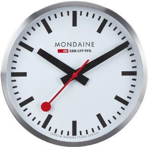 Mondaine large swiss railway clock a995 quartz movement w continuous sweep second hand - Mondaine wall clock cm ...