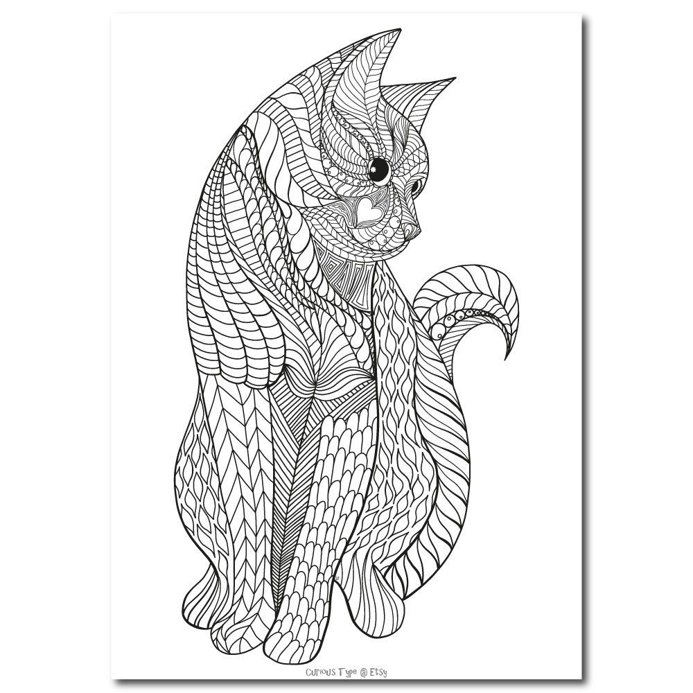 Inked Cat Colouring Page Vector Pdf File Etsy Cat Coloring Page Animal Coloring Pages Dog Coloring Page