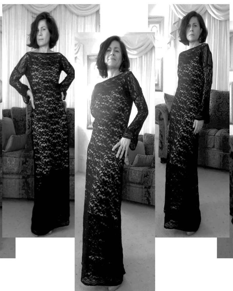 HARAH DESIGNS  FULL LENGTH STRETCHY LONG SLEEVE FORMAL WEDDING PARTY DRESS