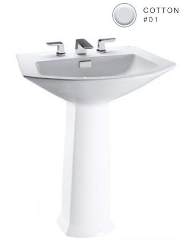 Toto Soiree Pedestal Bathroom Sink With 3 Faucet Holes Drilled A Cotton  Fixture Lavatory Sink Vitreous China