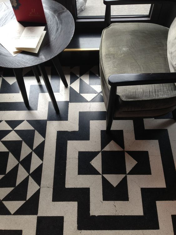 Beautiful Black And White Tiles Floor Or A Quilt Pattern In The