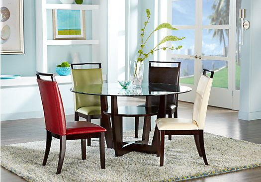 Picture Of Ciara Espresso 5 Pc Dining Set With Brown Chairs From
