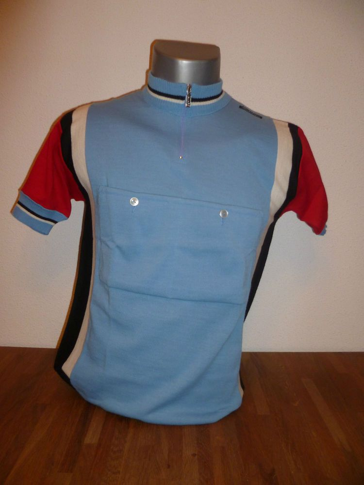 e8efae471 Anquetil Coppi Santini Retro Wool Cycling Shirt Eroica Bianchi NOS in  Sporting Goods