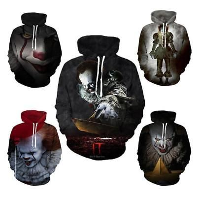 Men's Clothing New Movie It Pennywise Clown Stephen King 3d Print Hoodies Horror Cosplay Sportswear Tracksuit Movie Hoody Sweatshirt