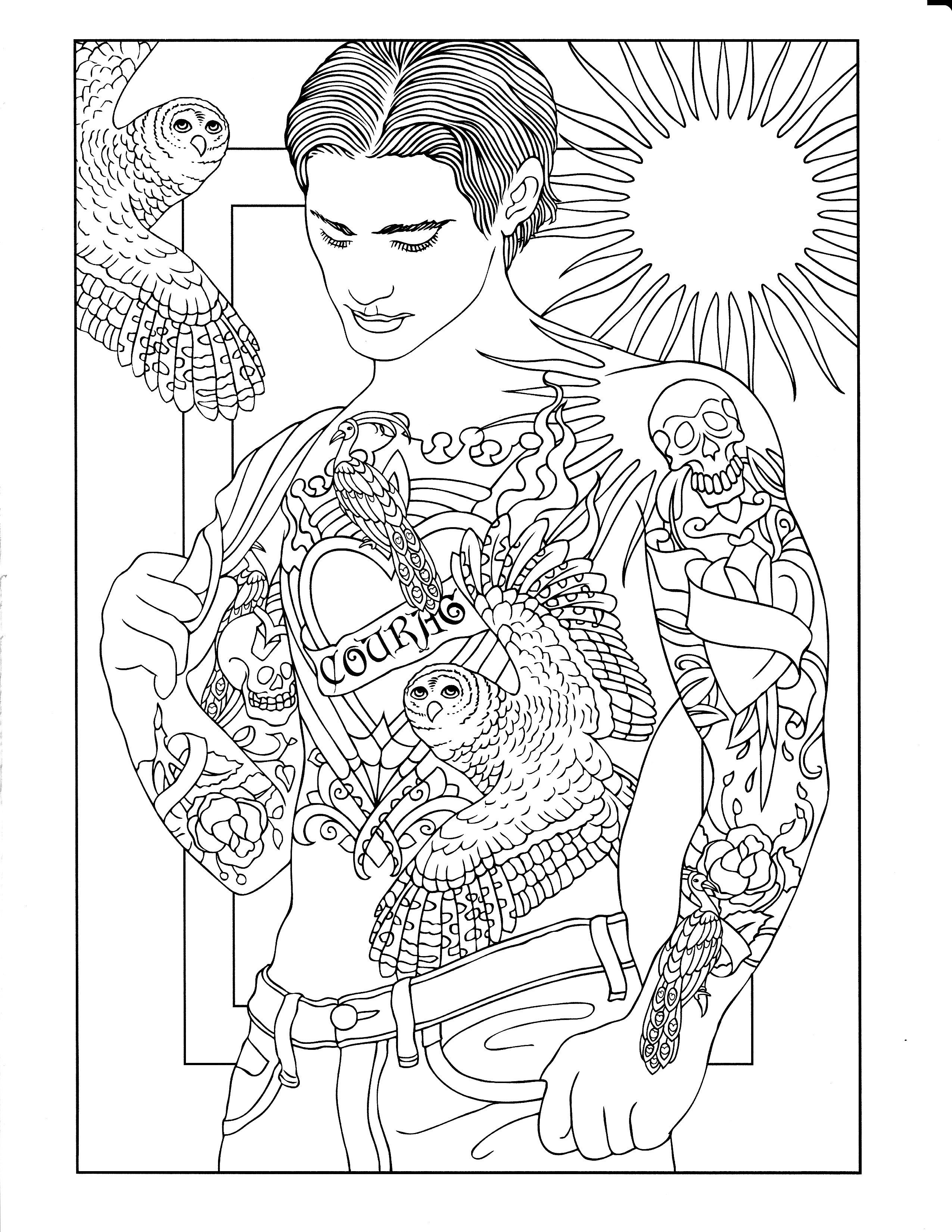 - Printable Coloring Page Tattoo Coloring Book, Coloring Books
