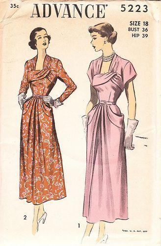 advance 5223 | Vintage dress patterns, 1940s dress pattern