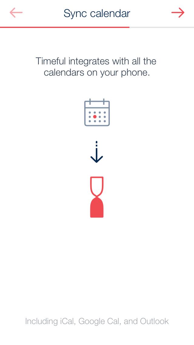 Timeful / productivity app's walkthrough