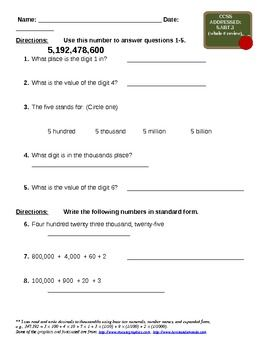 expanded form questions and answers  Common Core Math Grade 16 Place Value and Expanded Form ...