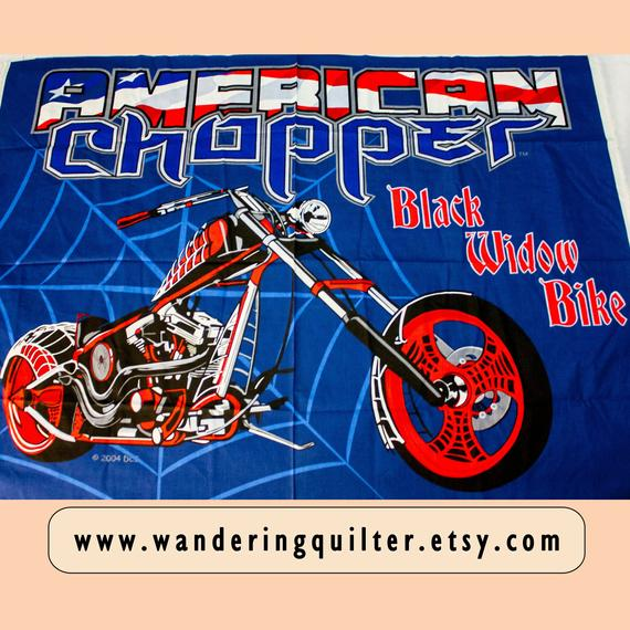 Black Widow American Chopper Motorcycle Motor Bike Quilt Cotton Panel Fabric