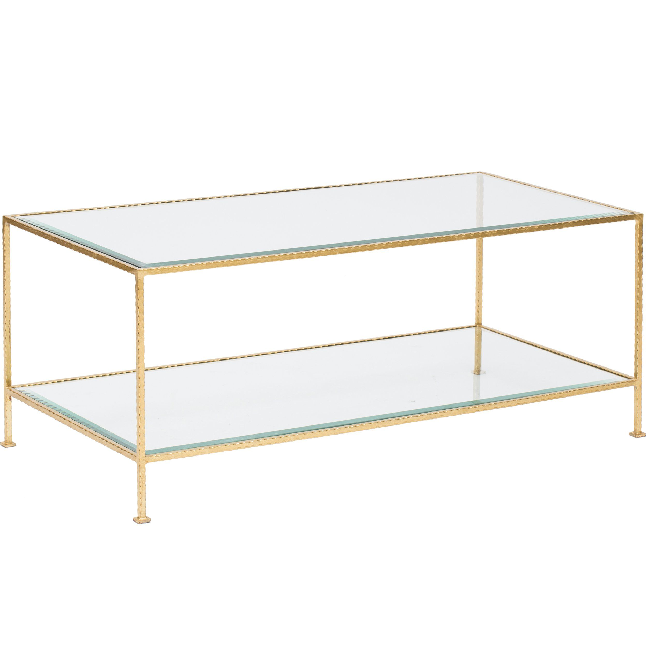 Rectangular Hammered Gold Leaf 2 Tier Coffee Table With Beveled