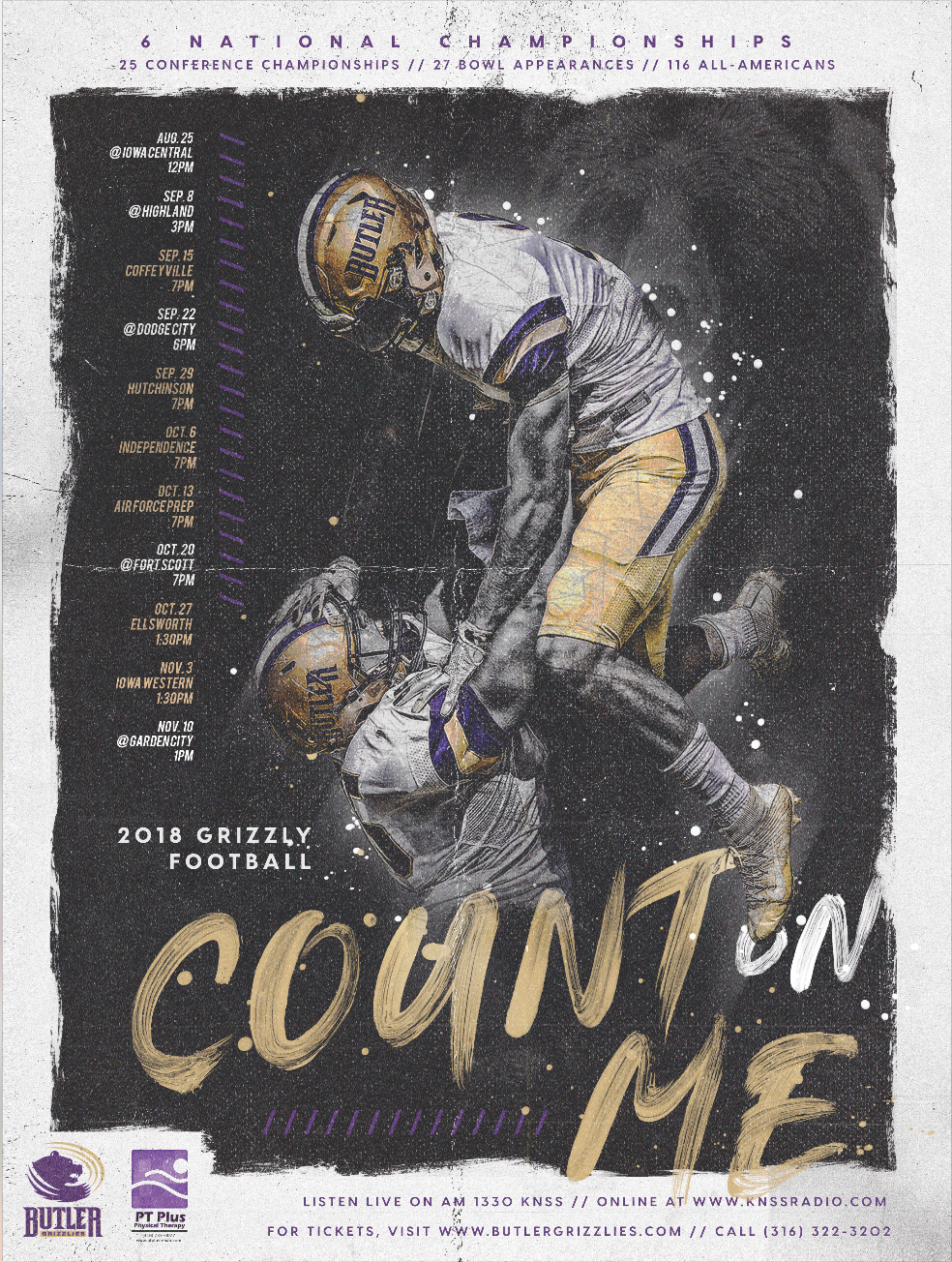 Butler County Community College Football Schedule Poster Graphic
