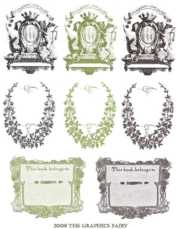 Free Printable - Vintage Bookplates Ideas Board for JASNA Festival