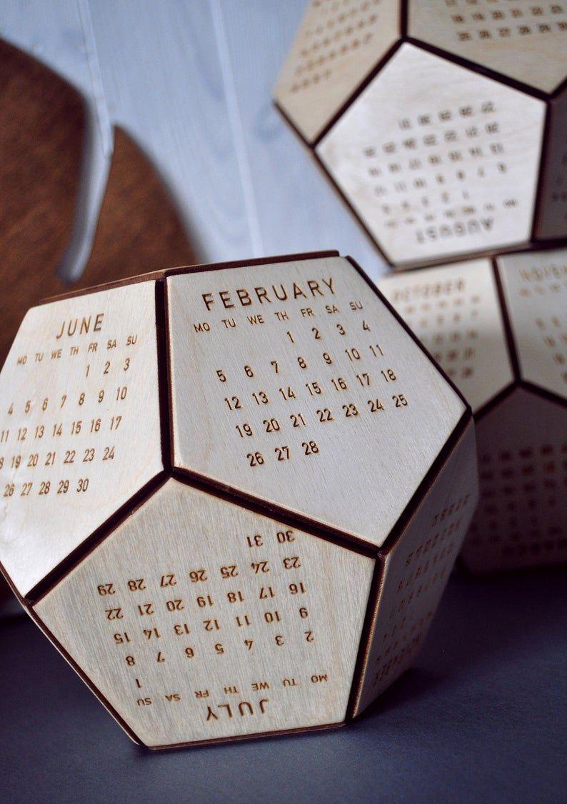 Wood Desk Calendar 2020 Office Accessories For Men Boss