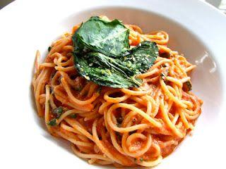 Spaghetti with Tomato Cream Sauce and Crispy Spinach!!