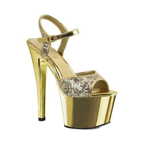 a04423509957 Women s Pleaser Sky 310SQ Ankle-Strap Platform Sandal Gold Sequins Gold