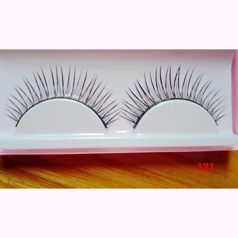 Hecho a mano natural mirando largo cortas cruzadas pestañas falsas para los ojos ahumados de maquillaje falso pestañas maquillaje beauty tools 121 #