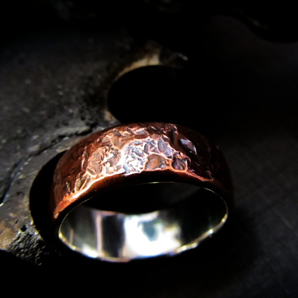 etsy mens wedding bands Mens textured copper silver wedding band gift ring rustic industrial steampunk made to order sizes 8