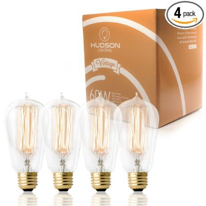 4 Pack 60 Watt Vintage Edison Bulb Squirrel Cage Filament 120 Volts Dimmable 230 Lumens Vintage Light Bulbs Vintage Edison Bulbs Edison Light Bulbs