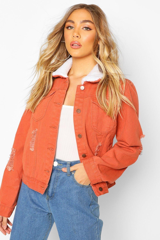 Borg Collar Denim Jacket Boohoo Borg Collar Denim Jacket Denim Jacket Women Denim Fabric [ 1500 x 1000 Pixel ]