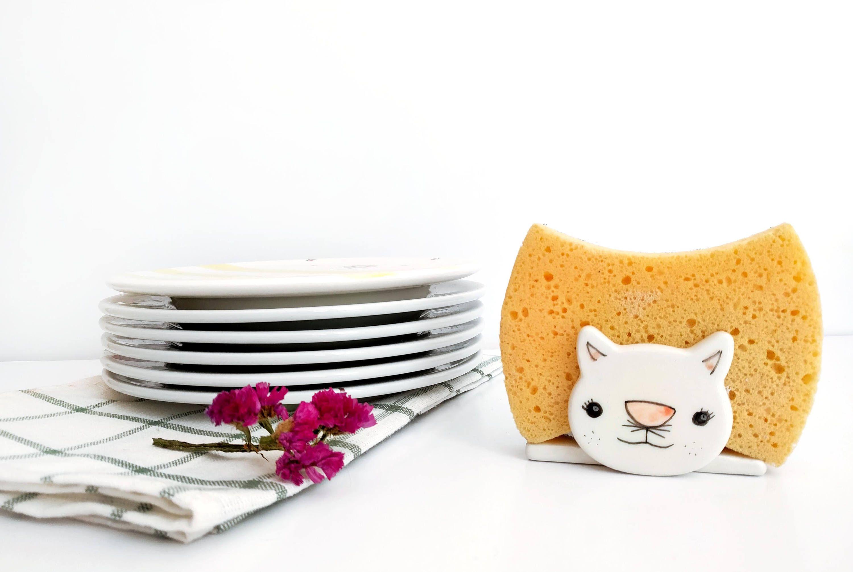 Ceramic sponge holder, Cat sponge holder, Napkin holder, Sponge dish ...