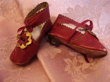 Extravagant Crimson Red MARKED French Fashion Doll Shoes!