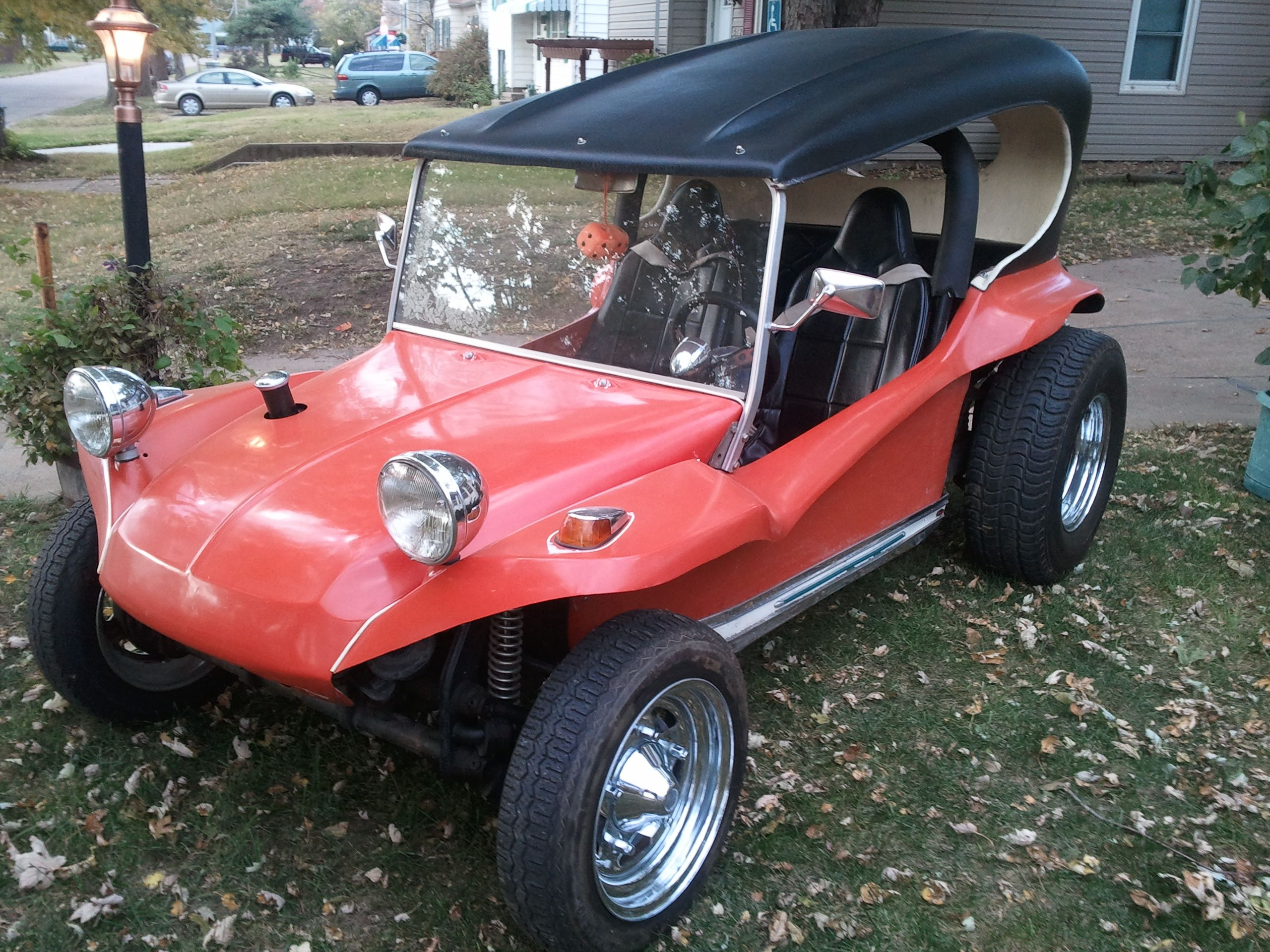 The front 3/4 view of my Manx Buggy with a hardtop that came from Colorado Springs in 1997.