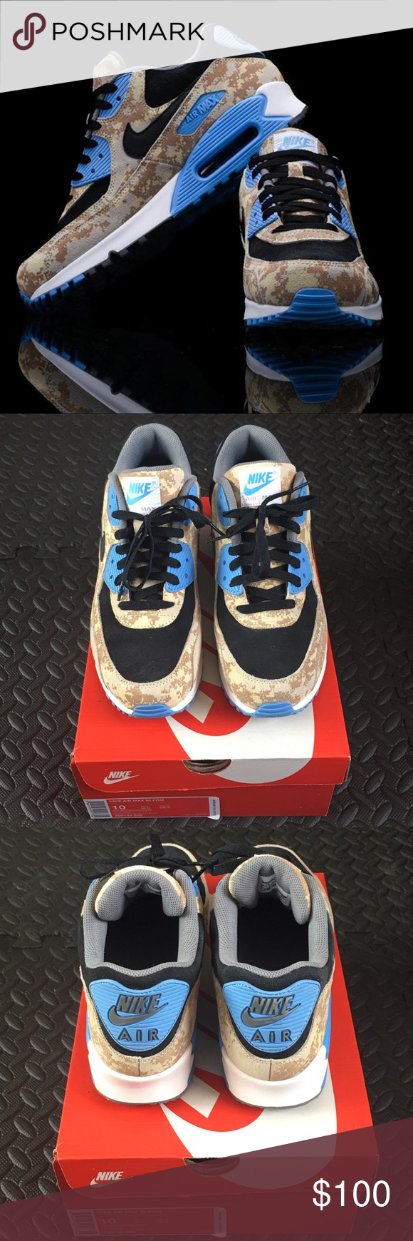 newest 470c1 a31c5 ... france nike air max 90 prm blue digi camo sneakers nike air max 90 prm  810dc