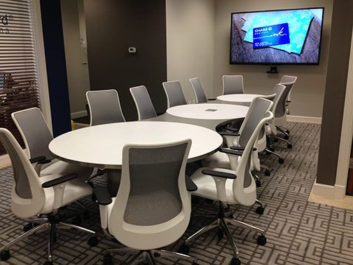 Our Beautifully Designed Genie Task Conference Crossover Chair - 16 ft conference table