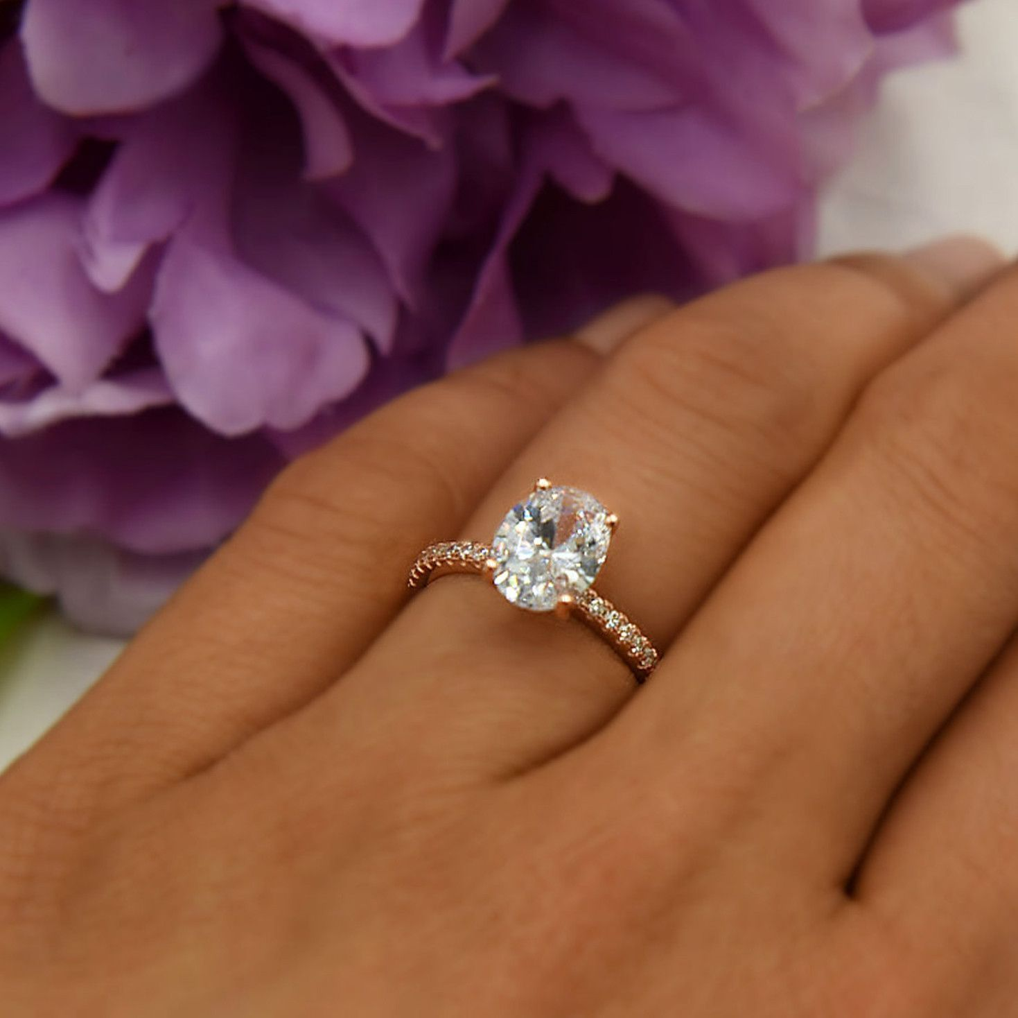 2.25 ctw Oval Accented Ring Rose Rose engagement ring