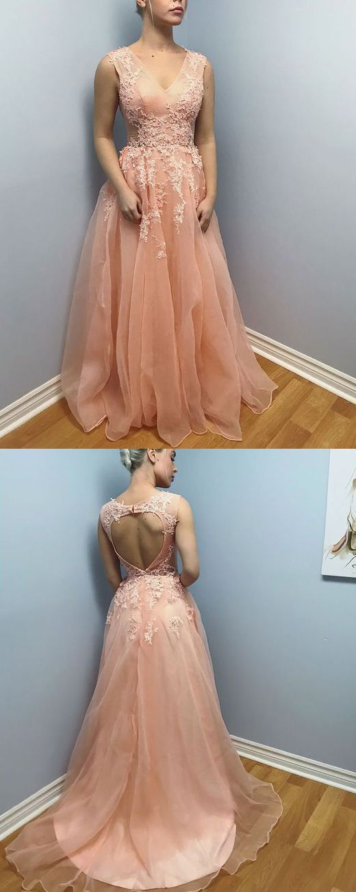 Straps V Neck Lace Organza Long Prom Dress Peach Formal Evening Gown ...