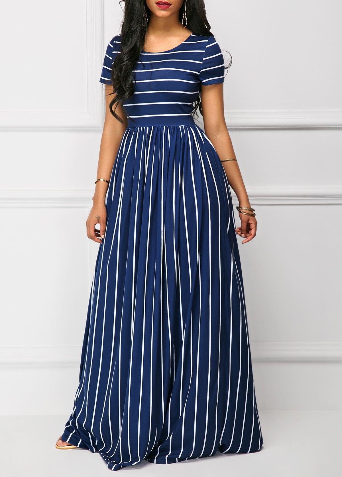 High Waist Stripe Print Short Sleeve Navy Maxi Dress Rotita Com Usd 33 39 Maxi Dress Short Sleeve Maxi Dresses Maxi Dress With Sleeves [ 1674 x 1200 Pixel ]