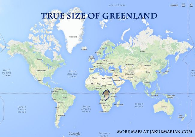 The True Size Of Greenland Maps Pinterest Map Funny Facts And
