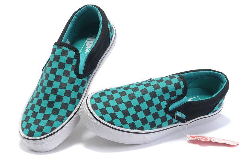 Slip on | Teal vans, Vans checkerboard