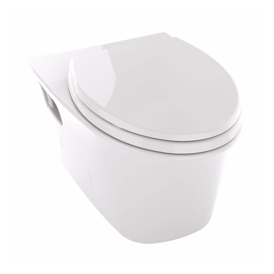 Toto Maris Chair Height Cotton White Wall-Hung Elongated Toilet Bowl ...