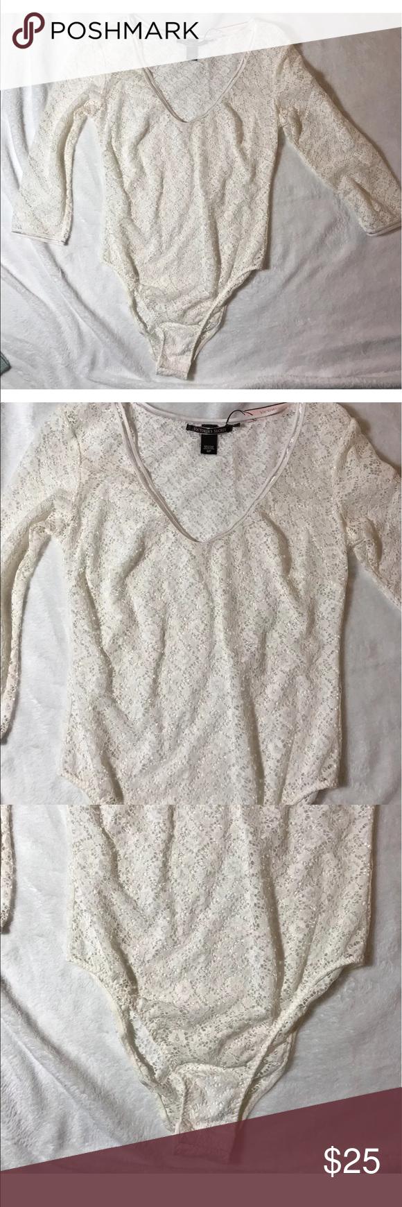 "Nwt Victoria's Secret white lace bodysuit New with tags Victoria's Secret Size Small White stretch Lace Snaps at crotch  16"" under arms across the back Victoria's Secret Tops"