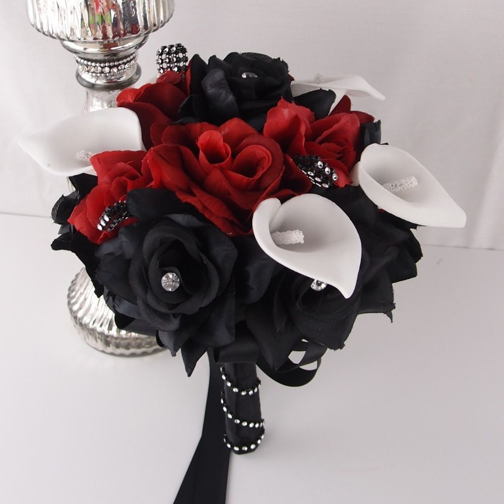 Real touch calla lilysilk rose bouquet 8 wedding bridal favor apple redblack rosecalla lily wedding bridal tossflower girl bouquet izmirmasajfo Choice Image