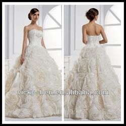 B1144 Organza Strapless Ball Gown Wedding Dress With Dramatic Rosette Skirt Designer One Piece