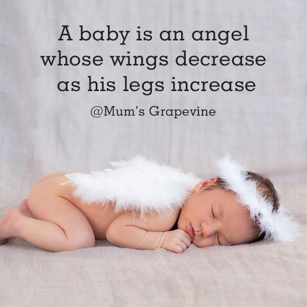 Awww A baby is an angel whose wings decrease as his legs increase.