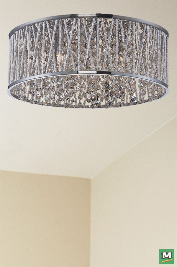 Patriot Lighting Elegant Home Carolyn Chrome Flush Mount With Crystal Accents