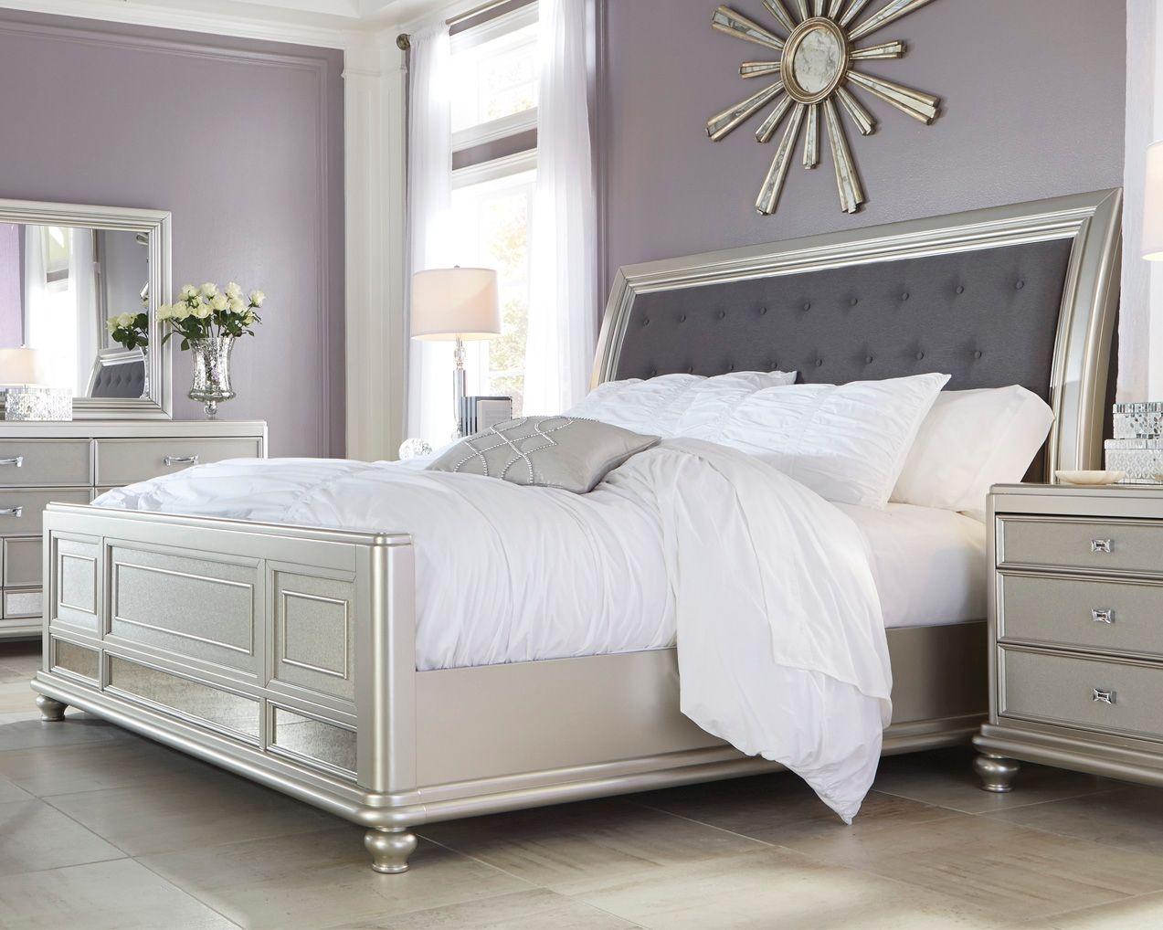 Coralayne California King Panel Bed Upholstered sleigh