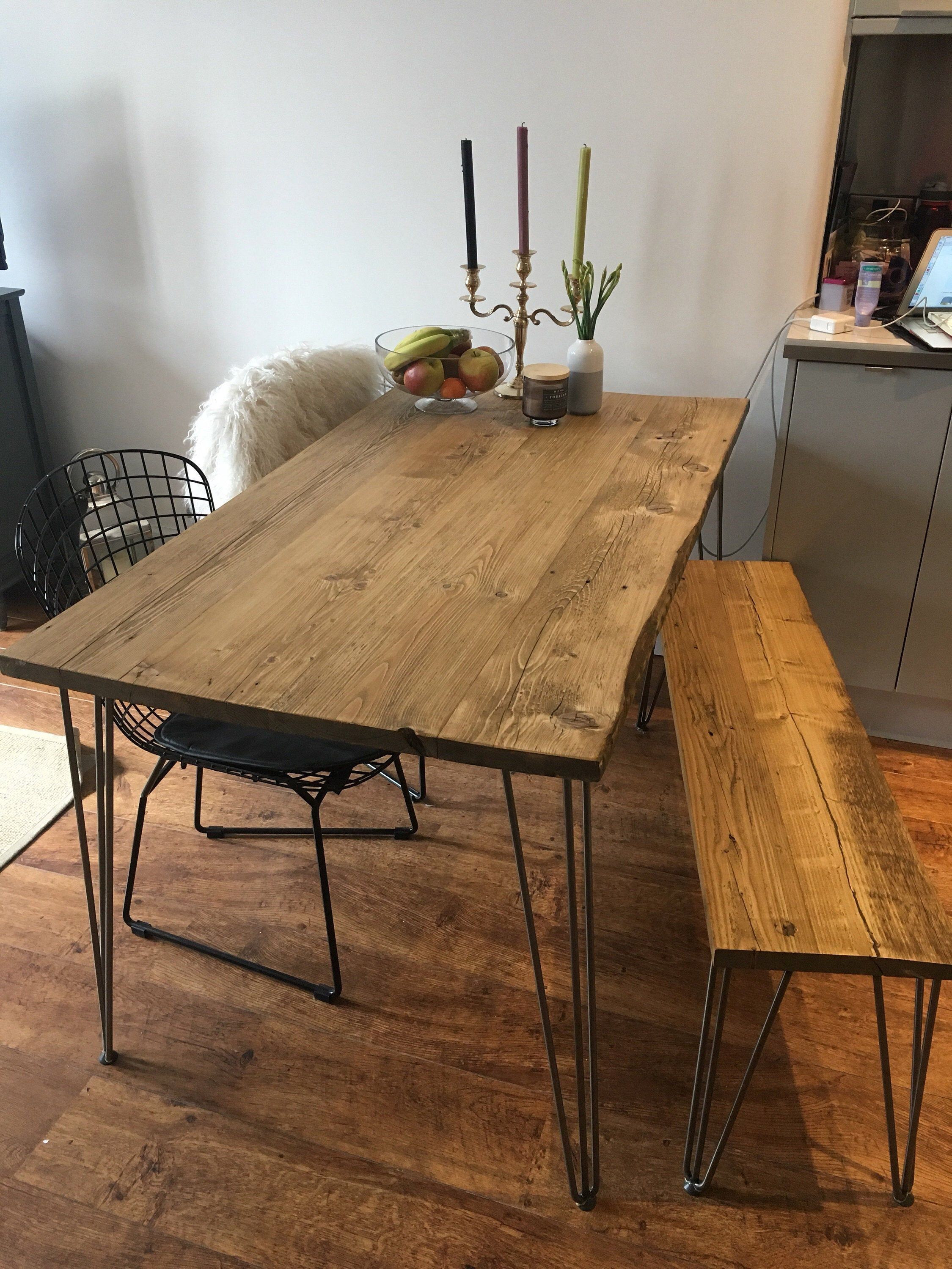 Reclaimed Dining Table With Black Hairpinschoice Of Etsy Reclaimed Dining Table Hairpin Dining Table Dining Room Industrial