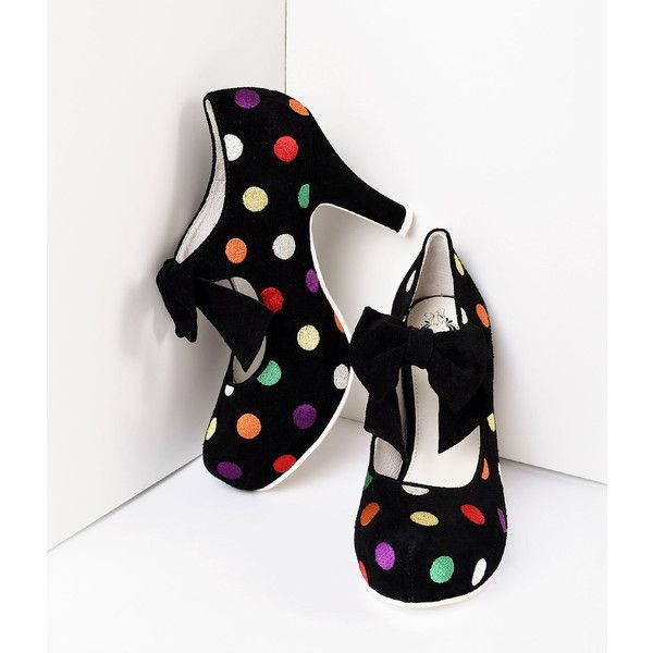 Lola Ramona Black Suede & Multicolor Dots Angie Pumps Shoes