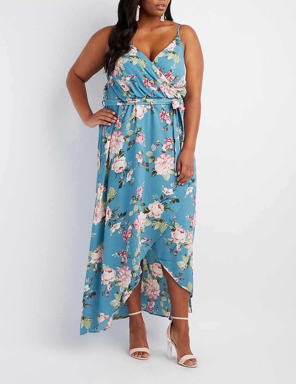 Plus Size Floral Surplice Maxi Dress | Charlotte Russe | DRESSES ...
