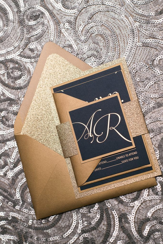 Wedding Invitations, Gold Foil Stamping, Gold and Navy, Black Tie ...