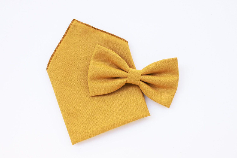 Papillon e fazzoletto giallo senape coordinato per uomo,papillon e pochette coordinato,matrimonio rustico,sposo vintage sposi accessori di ScoccaPapillon su Etsy