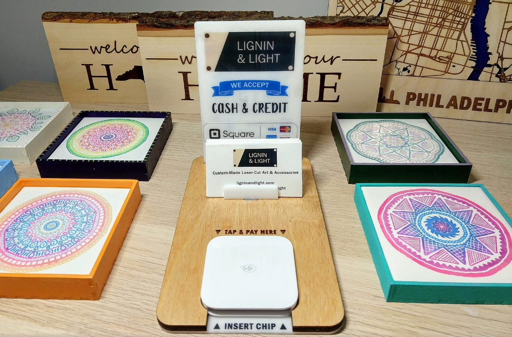 Custom Stand For Square Credit Card Reader Square Etsy Square Credit Card Credit Card Readers Wood Card