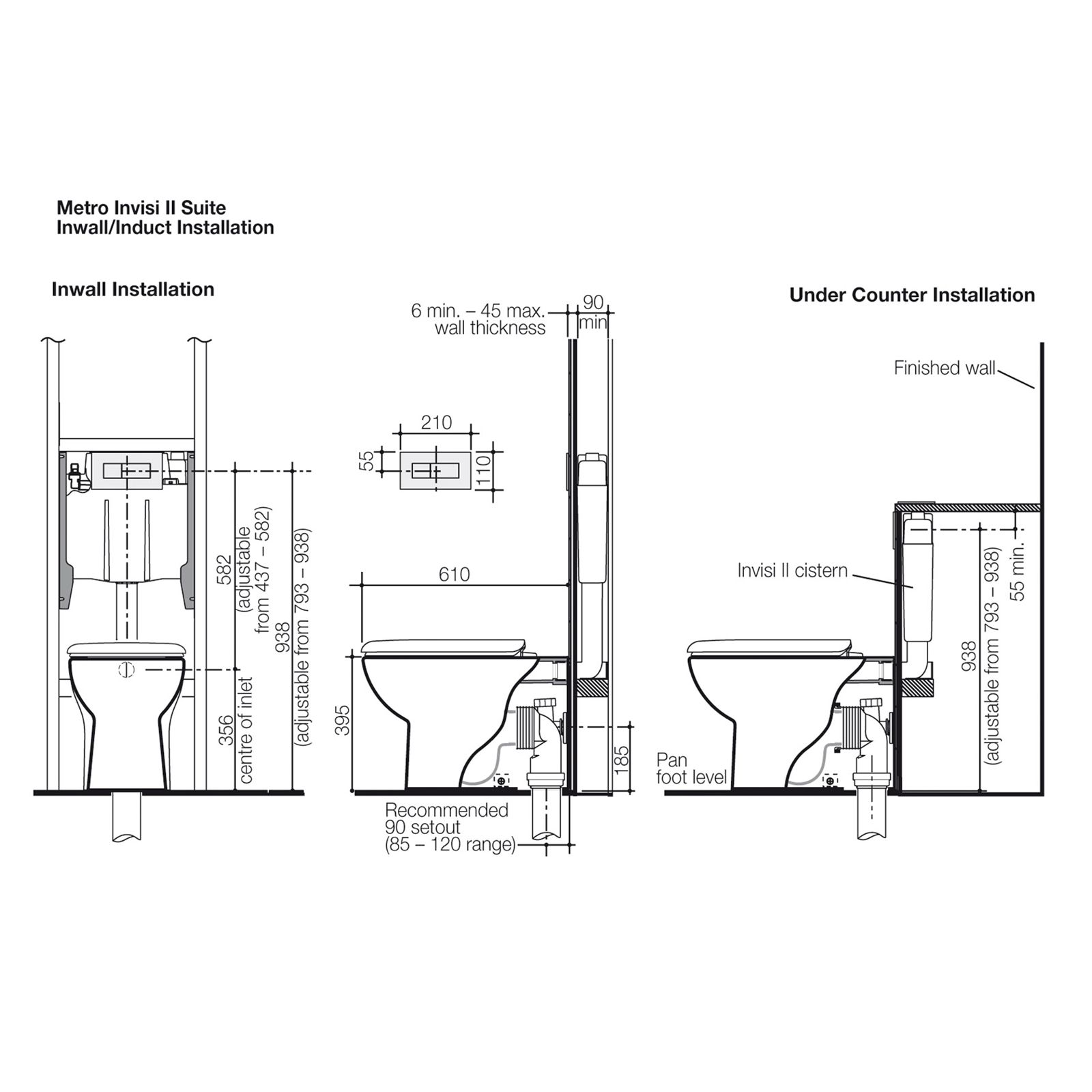 Caroma Wels 4 Star Metro Invisi Series Ii Wall Faced Toilet Suite