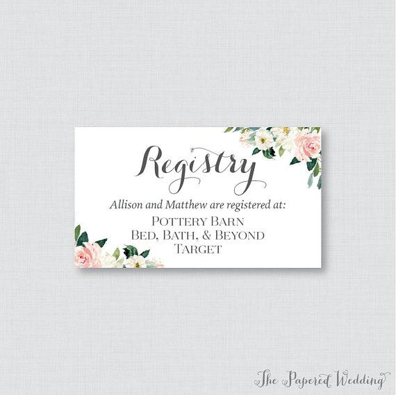 7005065913a printable or printed wedding registry cards pink floral wedding .
