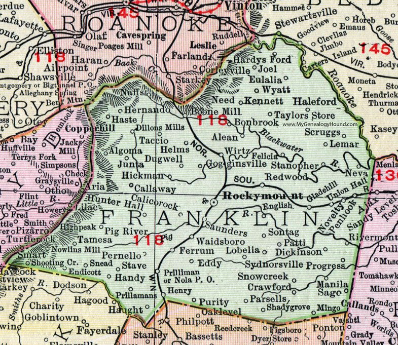 Franklin County Virginia Map 1911 Rand McNally Rocky Mount